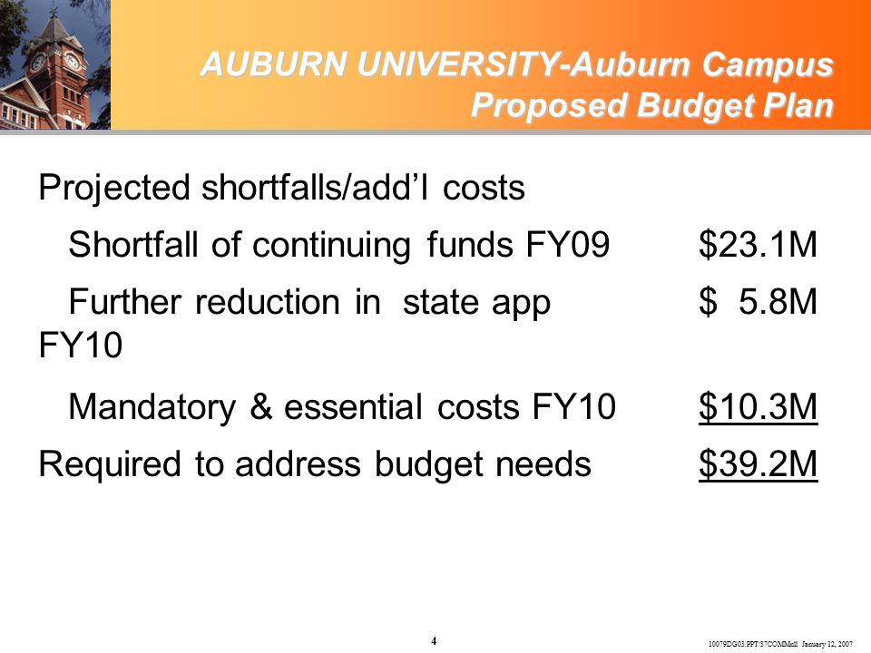 10079DG03.PPT/37COMMnll January 12, 2007 4 AUBURN UNIVERSITY-Auburn Campus Proposed Budget Plan Projected shortfalls/add'l costs Shortfall of continuing funds FY09$23.1M Further reduction in state app FY10 $ 5.8M Mandatory & essential costs FY10$10.3M Required to address budget needs$39.2M