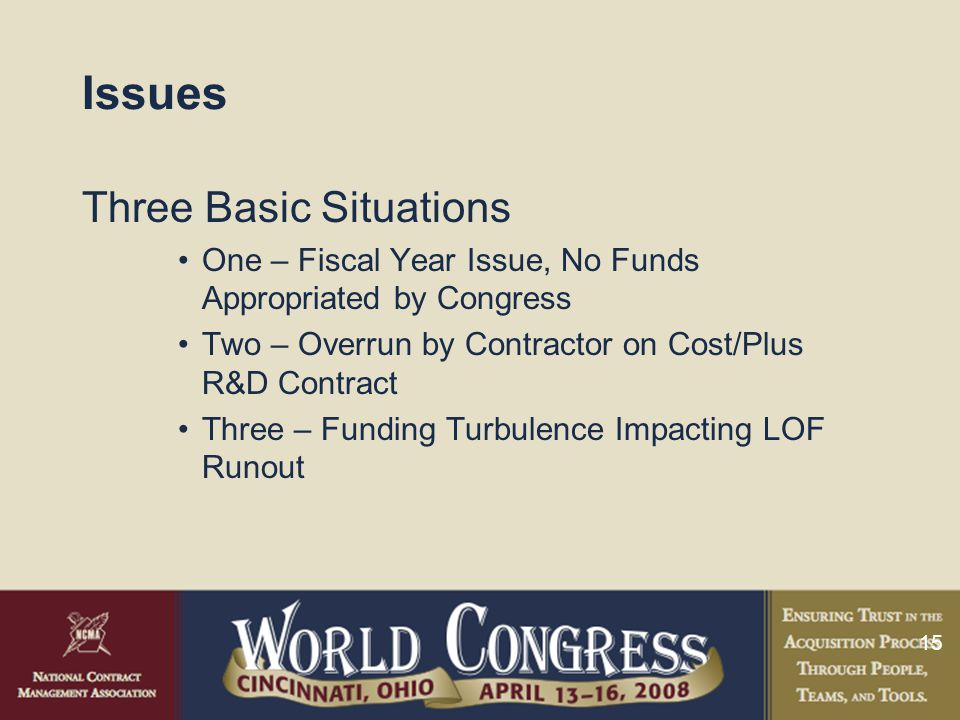 15 Issues Three Basic Situations One – Fiscal Year Issue, No Funds Appropriated by Congress Two – Overrun by Contractor on Cost/Plus R&D Contract Thre