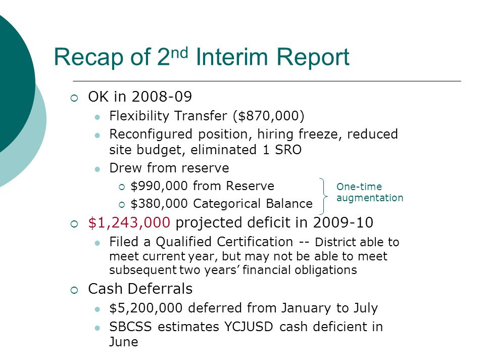Recap of 2 nd Interim Report  OK in 2008-09 Flexibility Transfer ($870,000) Reconfigured position, hiring freeze, reduced site budget, eliminated 1 SRO Drew from reserve  $990,000 from Reserve  $380,000 Categorical Balance  $1,243,000 projected deficit in 2009-10 Filed a Qualified Certification -- District able to meet current year, but may not be able to meet subsequent two years' financial obligations  Cash Deferrals $5,200,000 deferred from January to July SBCSS estimates YCJUSD cash deficient in June One-time augmentation