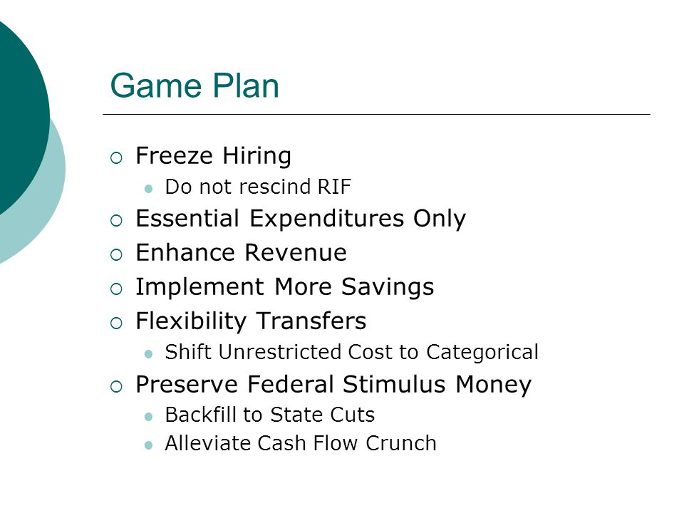 Game Plan  Freeze Hiring Do not rescind RIF  Essential Expenditures Only  Enhance Revenue  Implement More Savings  Flexibility Transfers Shift Unrestricted Cost to Categorical  Preserve Federal Stimulus Money Backfill to State Cuts Alleviate Cash Flow Crunch