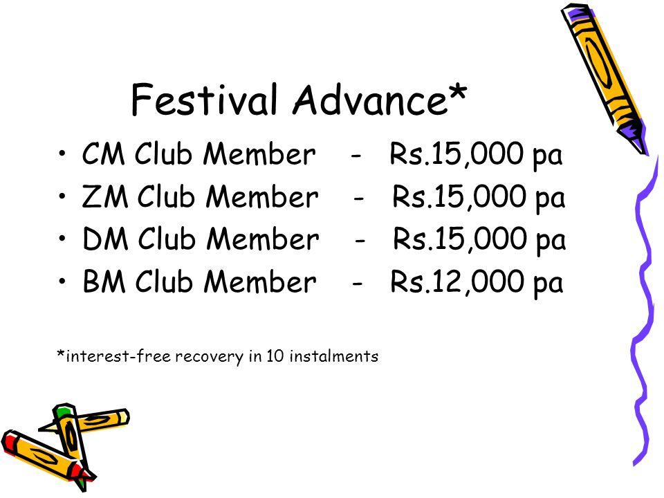Festival Advance* CM Club Member - Rs.15,000 pa ZM Club Member - Rs.15,000 pa DM Club Member - Rs.15,000 pa BM Club Member - Rs.12,000 pa *interest-fr