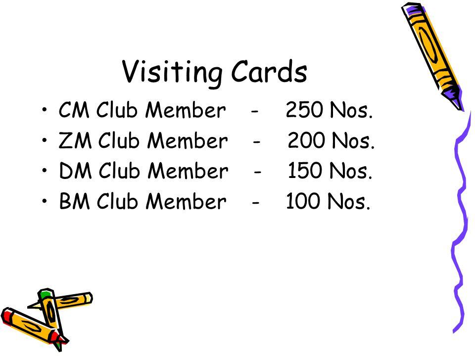 Visiting Cards CM Club Member - 250 Nos. ZM Club Member - 200 Nos. DM Club Member - 150 Nos. BM Club Member - 100 Nos.
