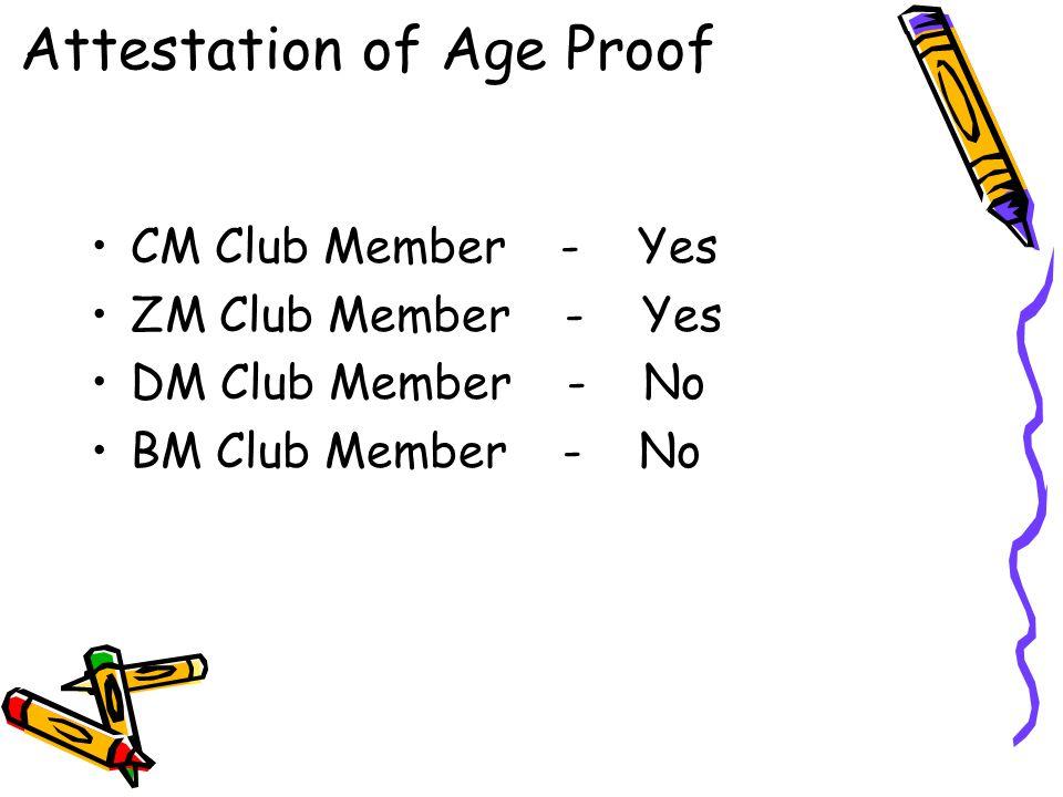 CM Club Member - Yes ZM Club Member - Yes DM Club Member - No BM Club Member - No Attestation of Age Proof