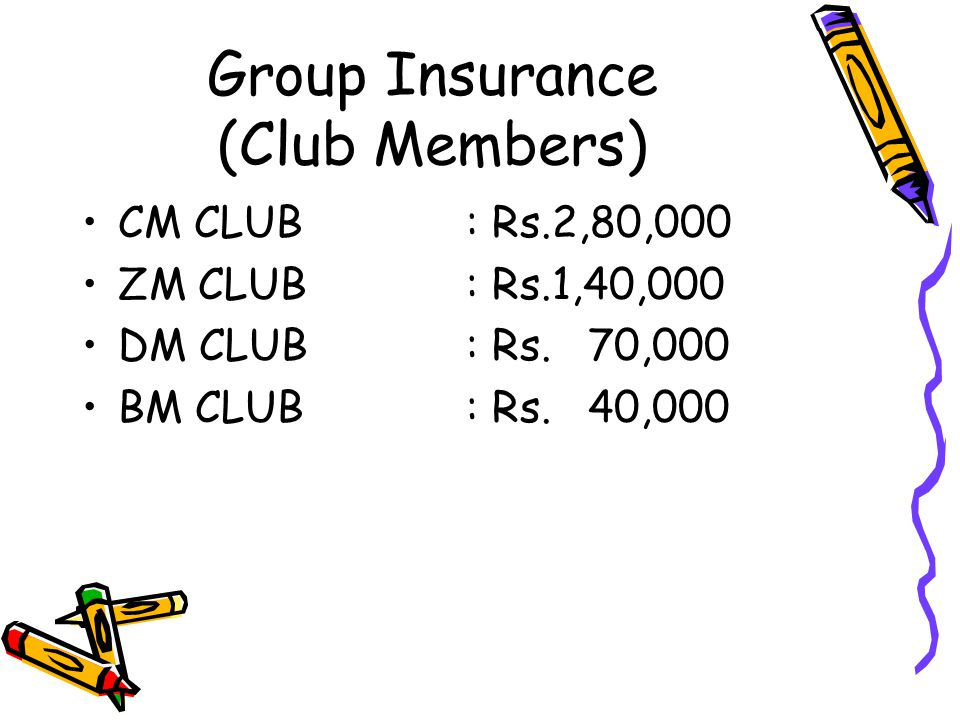 Group Insurance (Club Members) CM CLUB: Rs.2,80,000 ZM CLUB: Rs.1,40,000 DM CLUB: Rs. 70,000 BM CLUB: Rs. 40,000