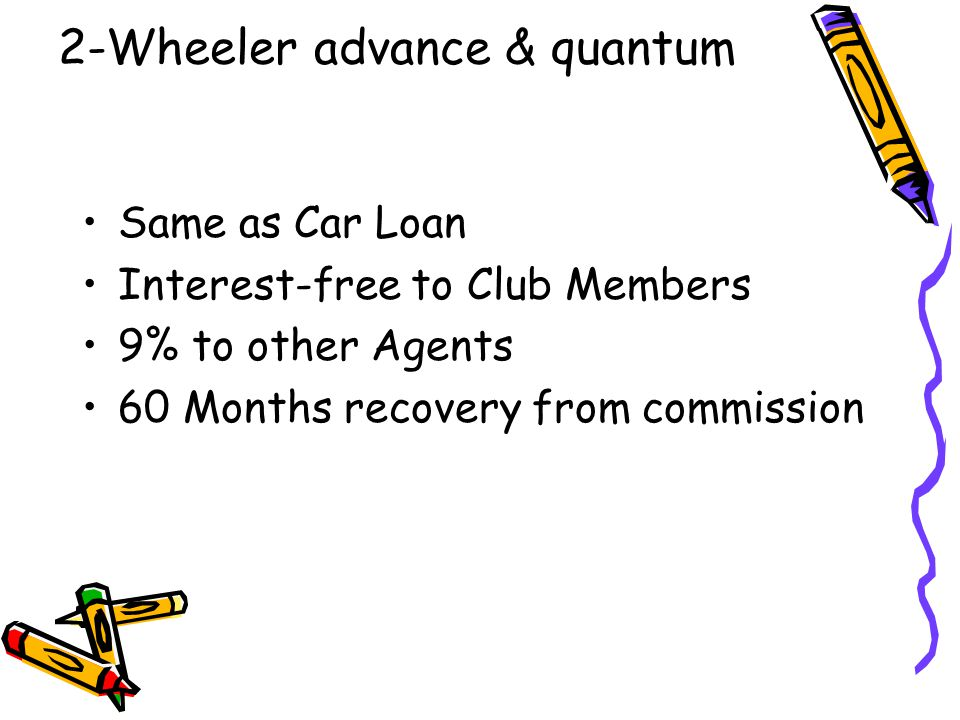 2-Wheeler advance & quantum Same as Car Loan Interest-free to Club Members 9% to other Agents 60 Months recovery from commission