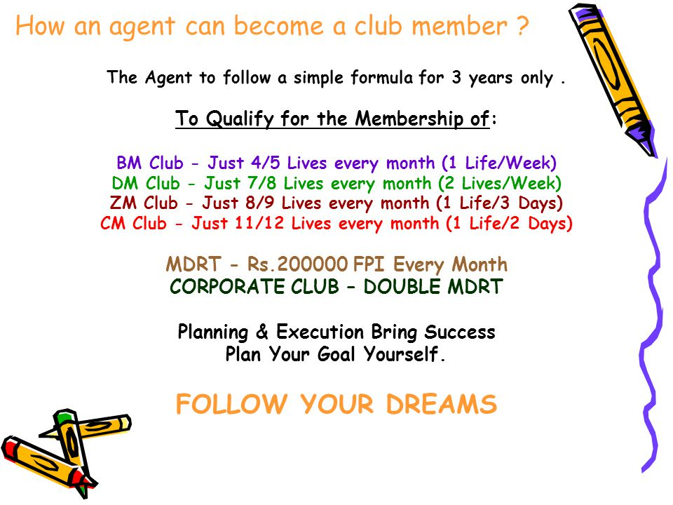 How an agent can become a club member ? The Agent to follow a simple formula for 3 years only. To Qualify for the Membership of: BM Club - Just 4/5 Li
