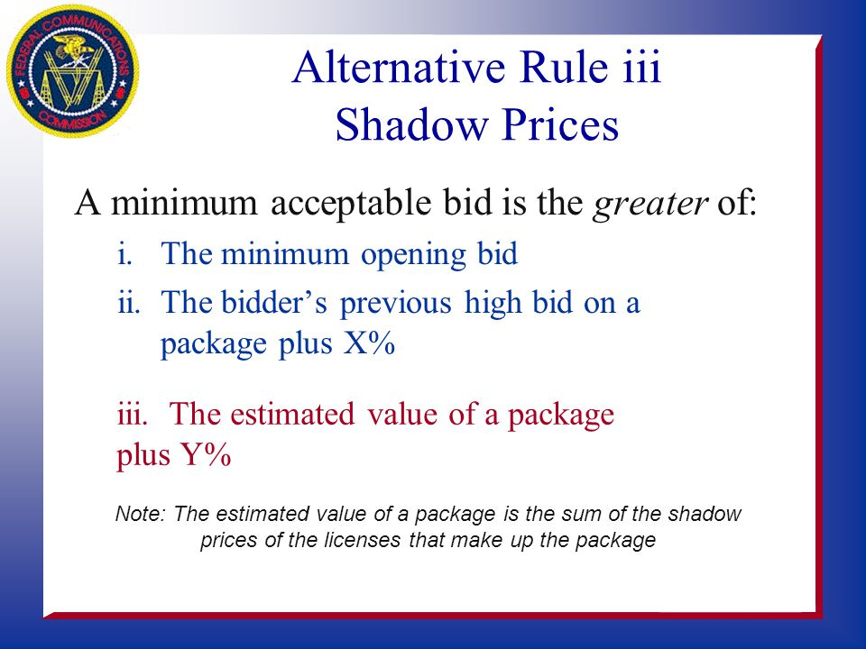 Alternatives to Deficit Calculations s Many authors suggest removing rule iii –Auction takes too long to close at 10% increment –Raising increment per