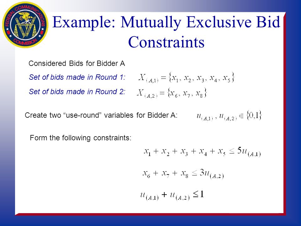 Ax =1: Each license awarded once s This is called a set-partitioning problem. These types of problems have a very nice mathematical structure. Bid Bid