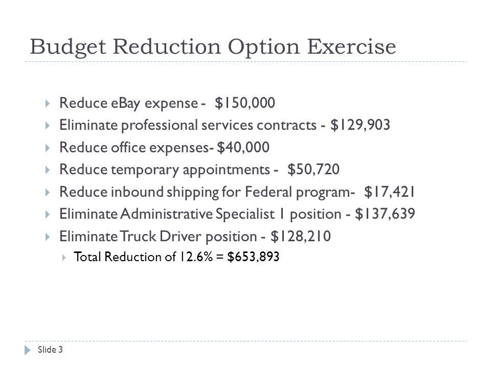 Budget Reduction Option Exercise  Reduce eBay expense - $150,000  Eliminate professional services contracts - $129,903  Reduce office expenses- $40,000  Reduce temporary appointments - $50,720  Reduce inbound shipping for Federal program- $17,421  Eliminate Administrative Specialist 1 position - $137,639  Eliminate Truck Driver position - $128,210  Total Reduction of 12.6% = $653,893 Slide 3