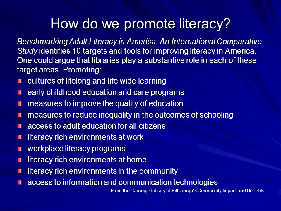 How do we promote literacy? Benchmarking Adult Literacy in America: An International Comparative Study identifies 10 targets and tools for improving l