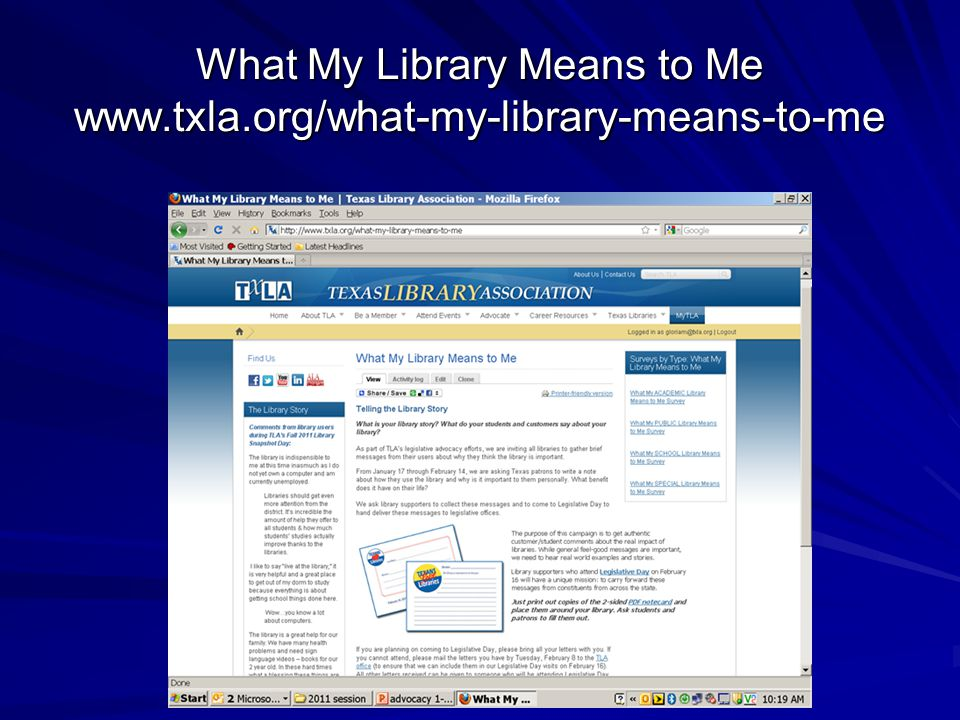 What My Library Means to Me www.txla.org/what-my-library-means-to-me