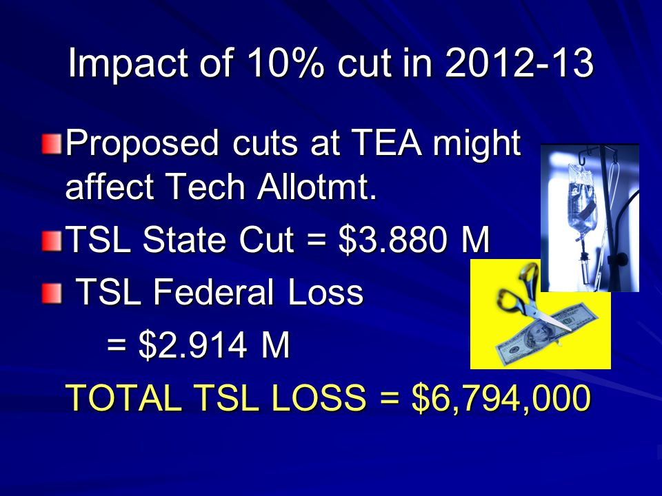 Impact of 10% cut in 2012-13 Proposed cuts at TEA might affect Tech Allotmt. TSL State Cut = $3.880 M TSL Federal Loss TSL Federal Loss = $2.914 M TOT