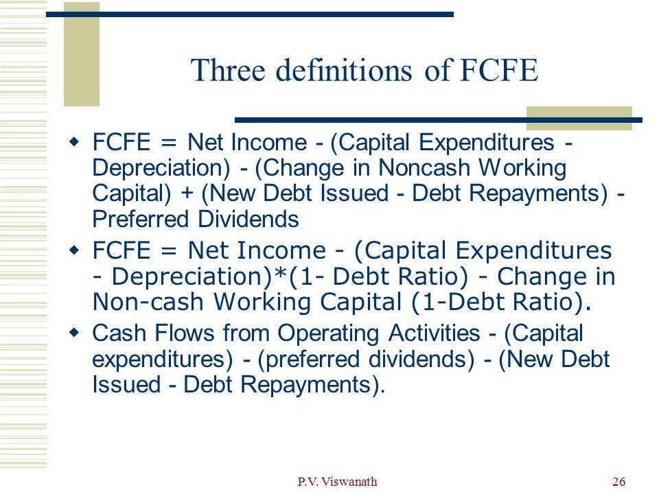 P.V. Viswanath26 Three definitions of FCFE  FCFE = Net Income - (Capital Expenditures - Depreciation) - (Change in Noncash Working Capital) + (New De