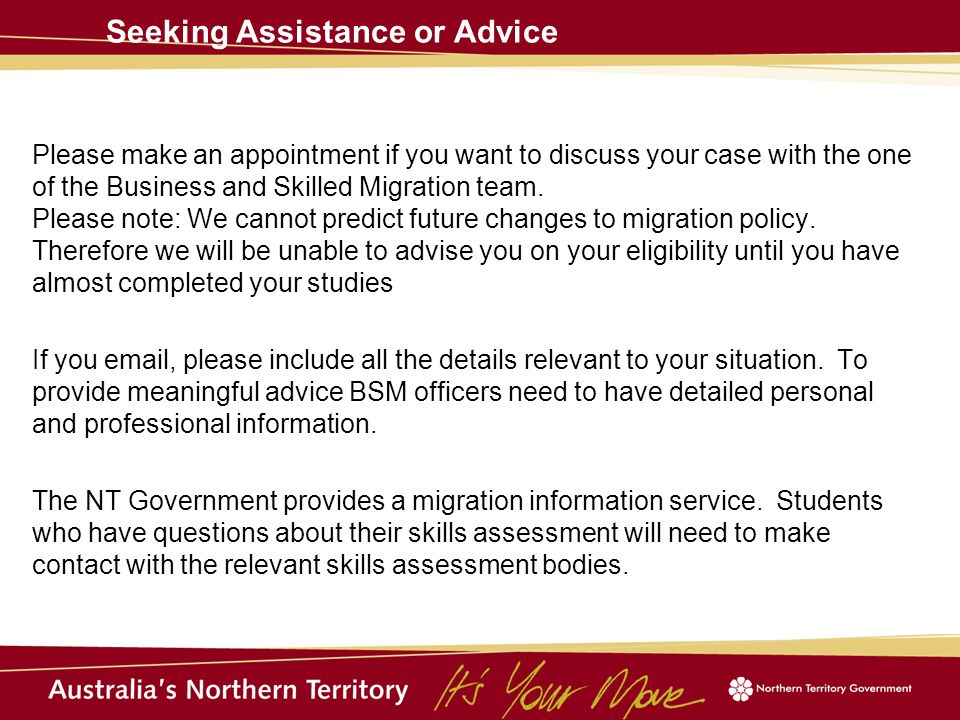 Please make an appointment if you want to discuss your case with the one of the Business and Skilled Migration team.