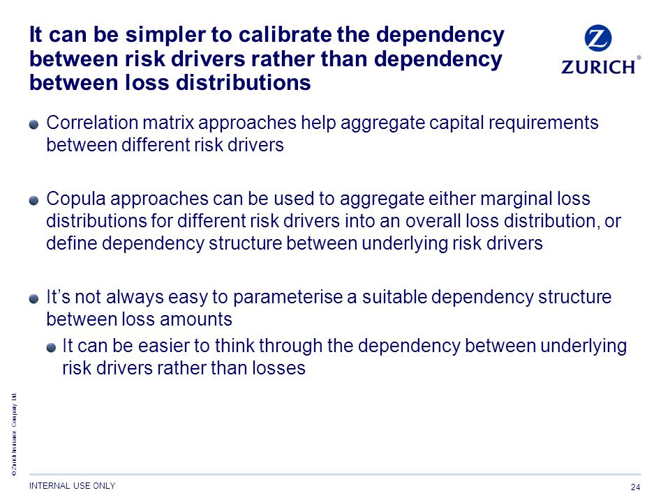 © Zurich Insurance Company Ltd. INTERNAL USE ONLY 24 It can be simpler to calibrate the dependency between risk drivers rather than dependency between