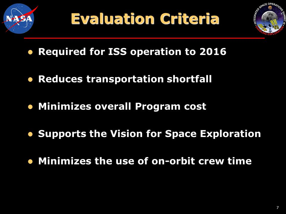 7 Evaluation Criteria Required for ISS operation to 2016 Reduces transportation shortfall Minimizes overall Program cost Supports the Vision for Space Exploration Minimizes the use of on-orbit crew time