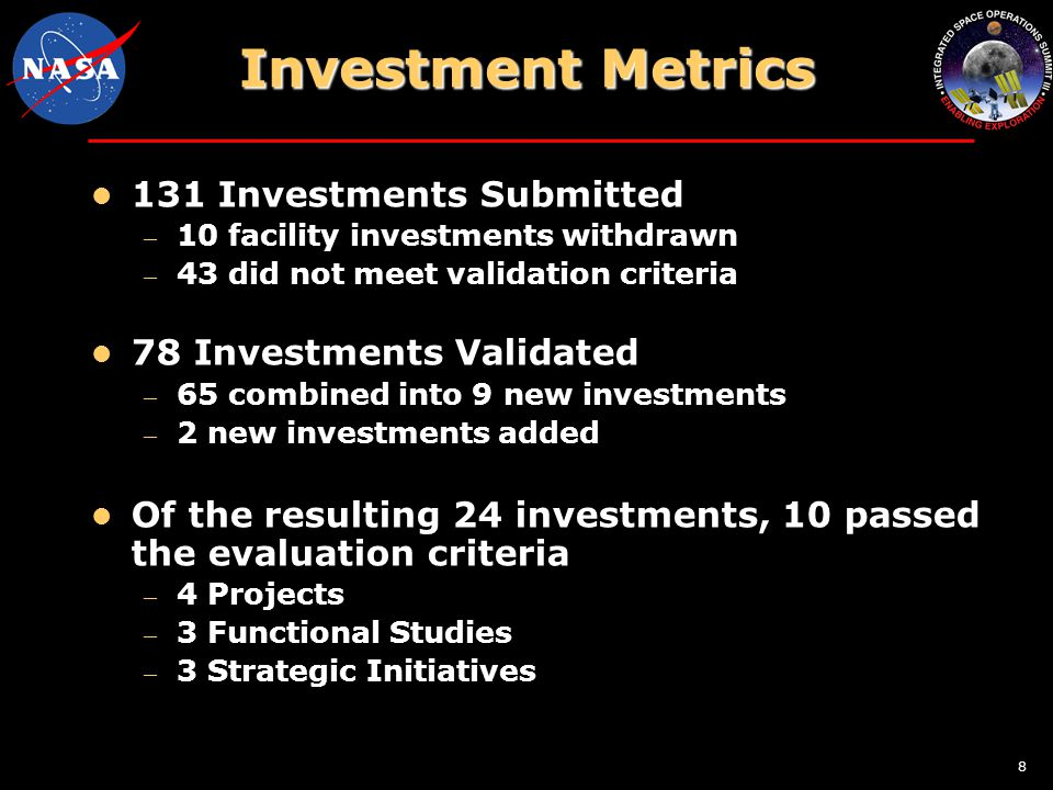 8 131 Investments Submitted – 10 facility investments withdrawn – 43 did not meet validation criteria 78 Investments Validated – 65 combined into 9 new investments – 2 new investments added Of the resulting 24 investments, 10 passed the evaluation criteria – 4 Projects – 3 Functional Studies – 3 Strategic Initiatives Investment Metrics