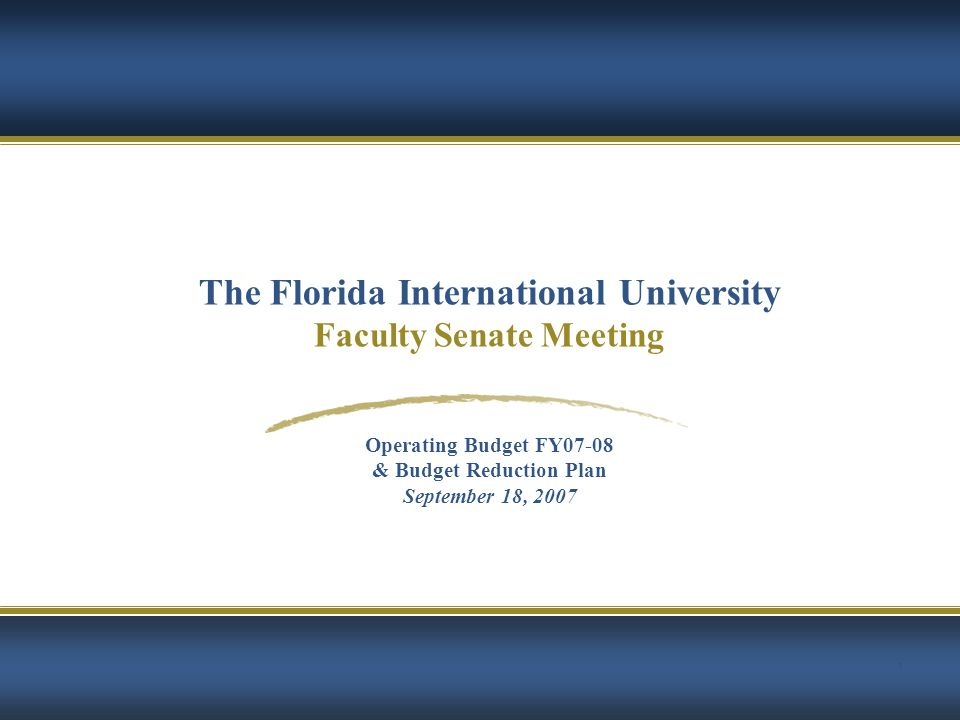 2 AGENDA The Florida International University FACULTY SENATE MEETING  University-wide 2007-08 Budget Summary by fund  Highlights & Strategic Issues  Shortfall in State Funding  Tuition Veto  Academic Investments  Budget Reduction Plan  Decide FIU's targeted level of cuts  Establish Guiding Principles for Budget Reduction Plan  Create a parallel process that identifies immediate and long term savings  Academic Affairs Allocation Methodology