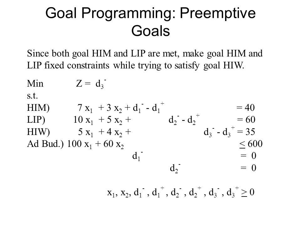 Goal Programming: Preemptive Goals Since both goal HIM and LIP are met, make goal HIM and LIP fixed constraints while trying to satisfy goal HIW.