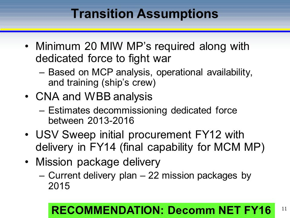 12 MCM Inventory (U) MCM Mission Package: Complete Final Operating Capability (systems fully integrated into the Mission Packages) in FY18.