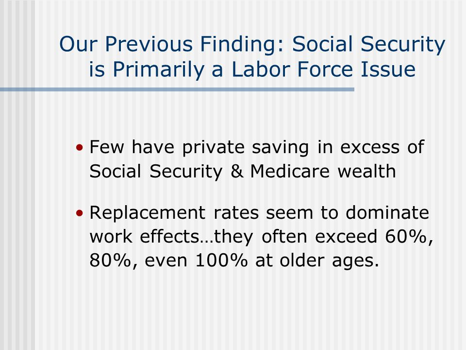 Our Previous Finding: Social Security is Primarily a Labor Force Issue Few have private saving in excess of Social Security & Medicare wealth Replacem