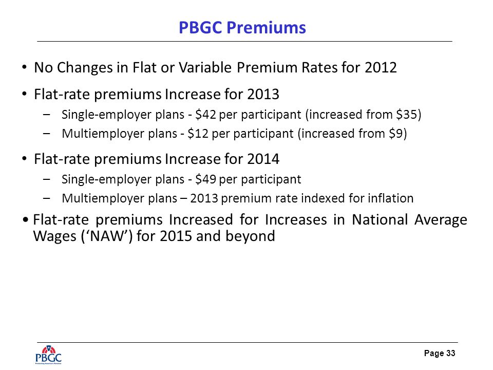 Page 33 PBGC Premiums No Changes in Flat or Variable Premium Rates for 2012 Flat-rate premiums Increase for 2013 –Single-employer plans - $42 per participant (increased from $35) –Multiemployer plans - $12 per participant (increased from $9) Flat-rate premiums Increase for 2014 –Single-employer plans - $49 per participant –Multiemployer plans – 2013 premium rate indexed for inflation Flat-rate premiums Increased for Increases in National Average Wages ('NAW') for 2015 and beyond
