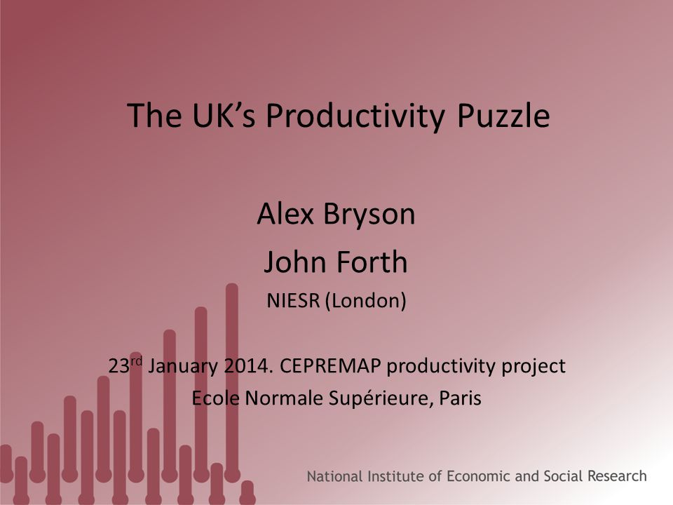 The UK's Productivity Puzzle Alex Bryson John Forth NIESR (London) 23 rd January 2014.