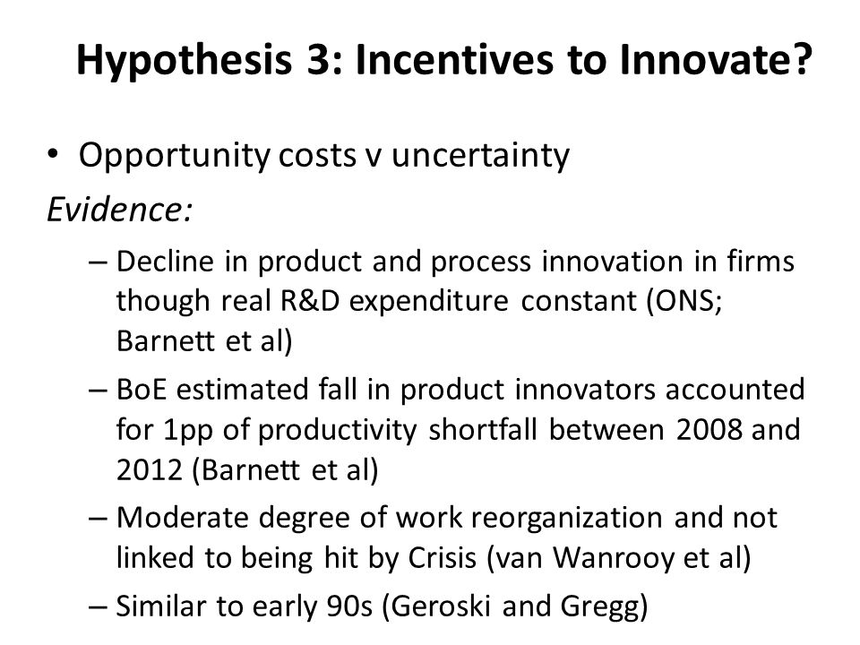 Hypothesis 3: Incentives to Innovate.