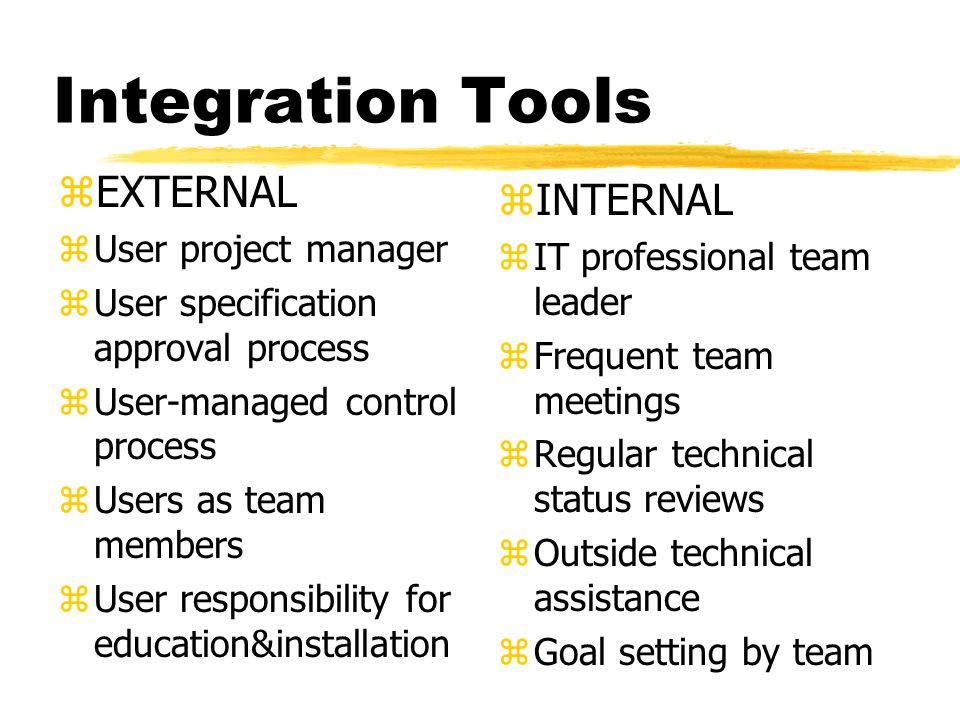 Integration Tools zEXTERNAL zUser project manager zUser specification approval process zUser-managed control process zUsers as team members zUser responsibility for education&installation z INTERNAL z IT professional team leader z Frequent team meetings z Regular technical status reviews z Outside technical assistance z Goal setting by team