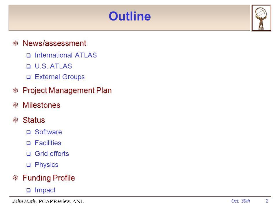 Oct. 30th John Huth, PCAP Review, ANL 2 Outline  News/assessment  International ATLAS  U.S.
