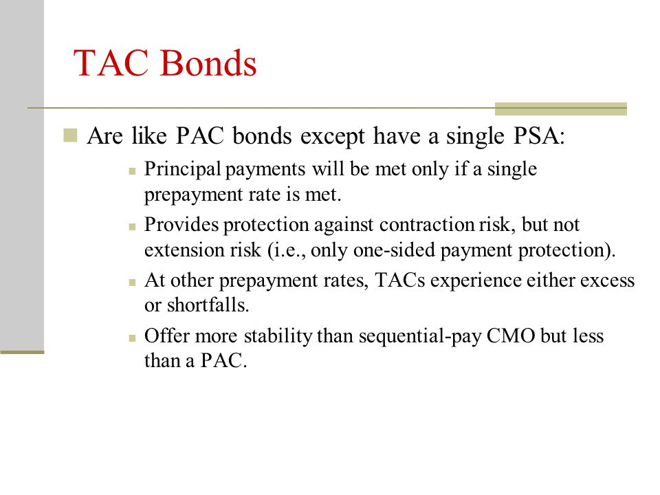 TAC Bonds Are like PAC bonds except have a single PSA: Principal payments will be met only if a single prepayment rate is met. Provides protection aga