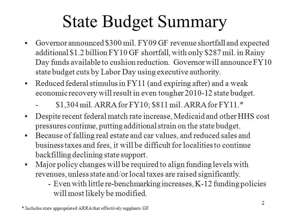 13 The Severe Revenue Shortfall Makes It Likely the State Will Alter Current K-12 Policies in the 2010-2012 Budget There are seven key components to the SOQ funding formula: -Number of students -Staffing ratios for teachers and other funded positions -Salaries of teachers and other funded positions -Fringe benefit rates -Standard and prevailing support costs -Inflation factors -Prevailing federal revenues related to support costs Approximately 79 percent of SOQ funding is for salaries and benefits FY10 budget already reduced support cost funding by $341 mil.
