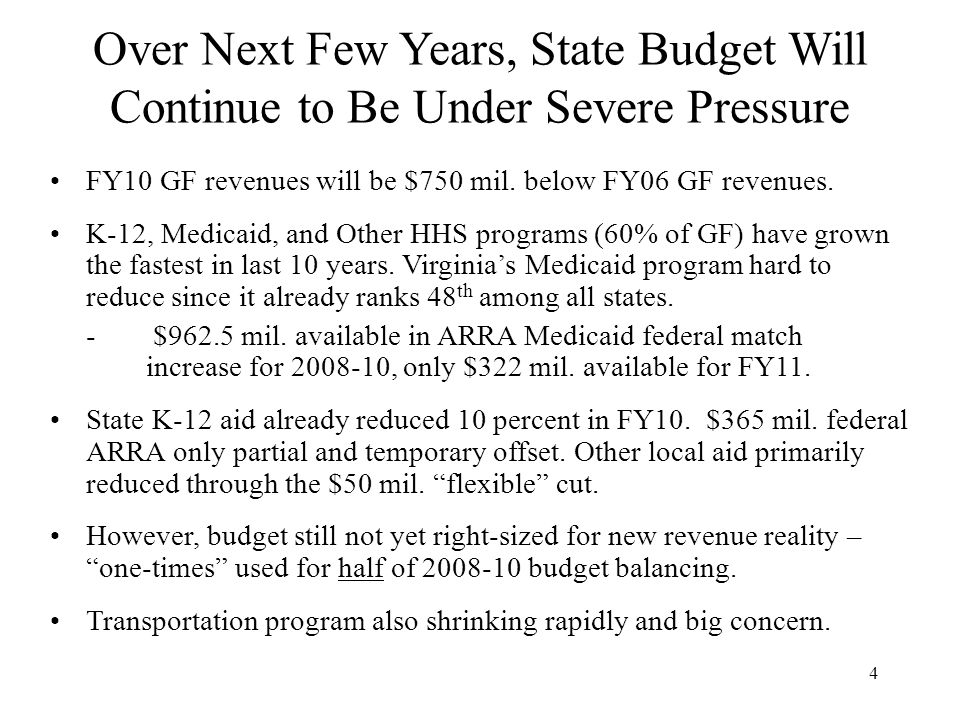 4 Over Next Few Years, State Budget Will Continue to Be Under Severe Pressure FY10 GF revenues will be $750 mil.
