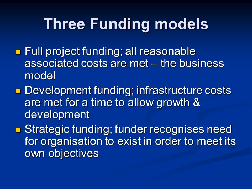 Project A full costing the project will now be fully costed to include direct project costs share of premises costs share of director costs share of support services costs share of governance costs share of general fundraising costs (if needed) All allocated on a defensible basis