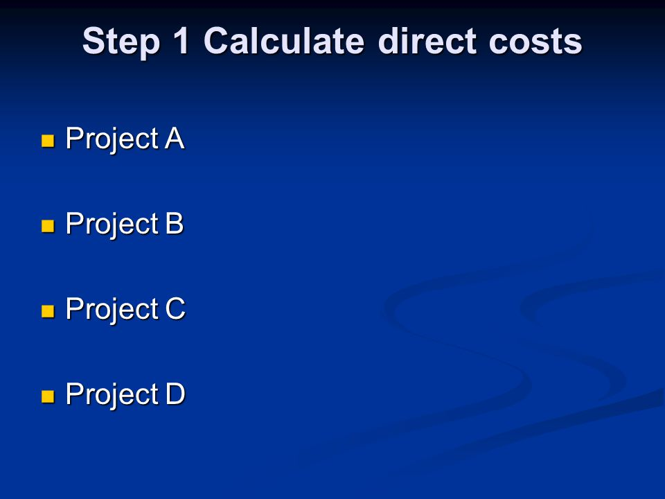 Step 2 Calculate total overheads Premises & office costs Premises & office costs Central function costs Central function costs Director Director Support services Support services Governance & strategic development Governance & strategic development General fundraising General fundraising