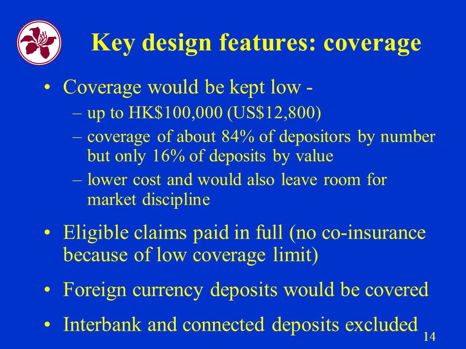 14 Key design features: coverage Coverage would be kept low - –up to HK$100,000 (US$12,800) –coverage of about 84% of depositors by number but only 16% of deposits by value –lower cost and would also leave room for market discipline Eligible claims paid in full (no co-insurance because of low coverage limit) Foreign currency deposits would be covered Interbank and connected deposits excluded