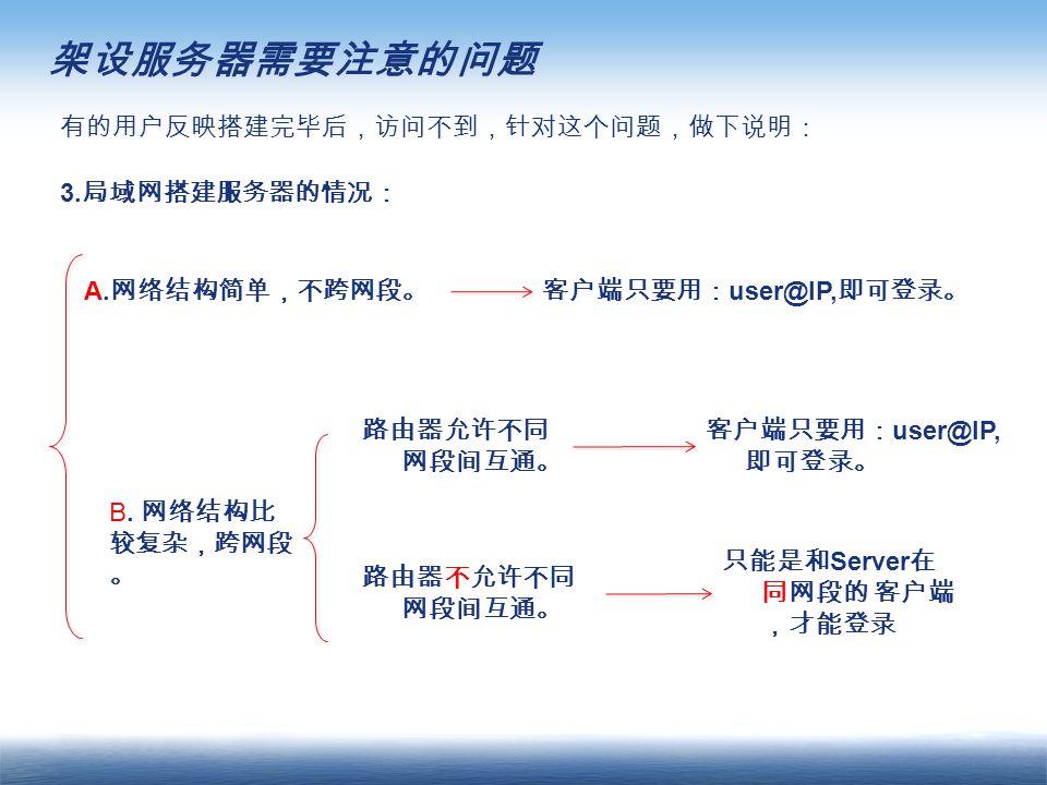 架设服务器需要注意的问题 有的用户反映搭建完毕后,访问不到,针对这个问题,做下说明: 3. 局域网搭建服务器的情况: A.
