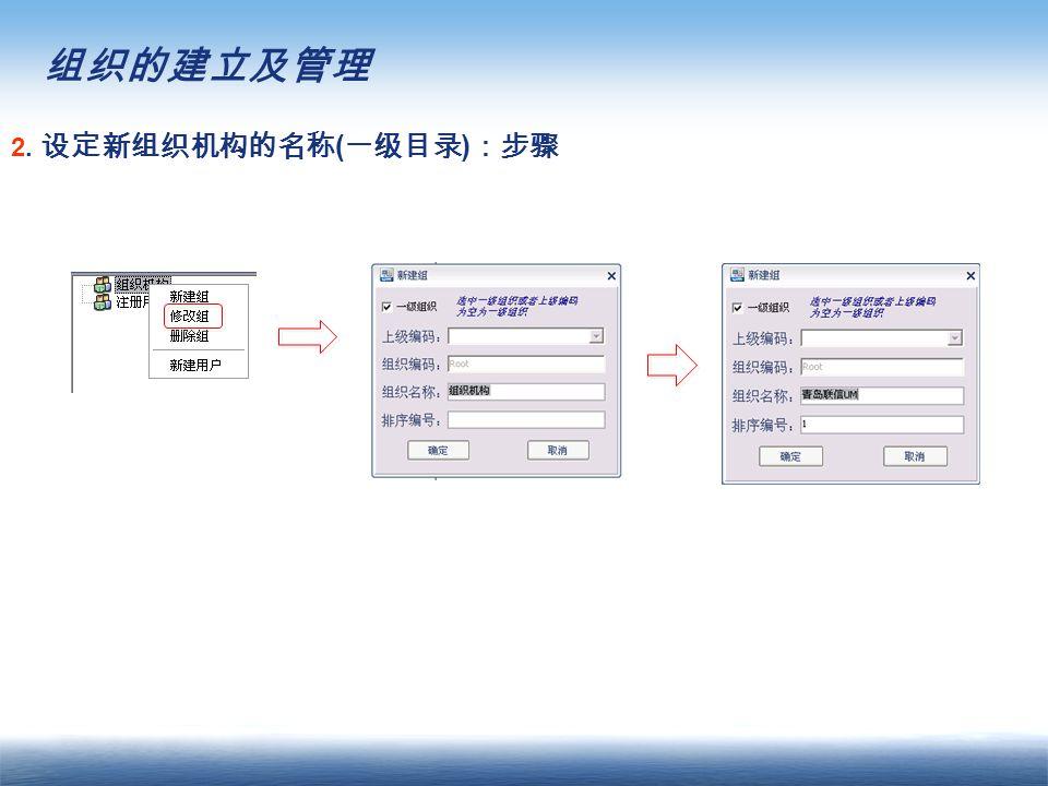 组织的建立及管理 2. 设定新组织机构的名称 ( 一级目录 ) :步骤