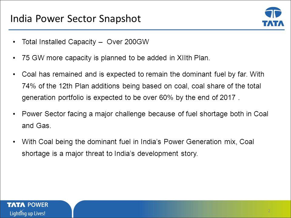 …Message Box ( Arial, Font size 18 Bold) India Power Sector Snapshot Total Installed Capacity – Over 200GW 75 GW more capacity is planned to be added in XIIth Plan.