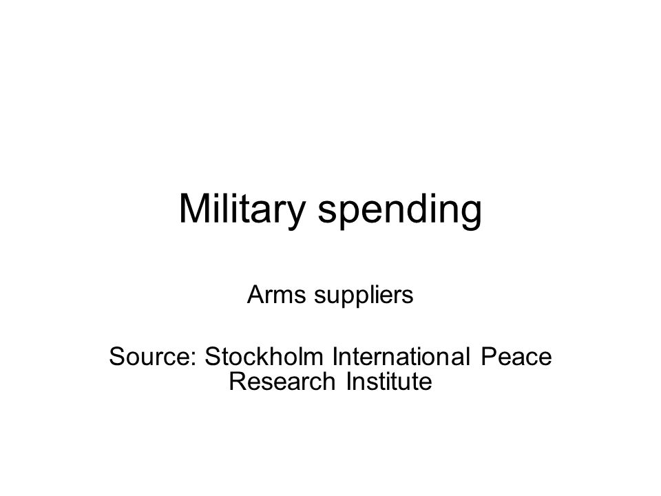 Military spending Arms suppliers Source: Stockholm International Peace Research Institute
