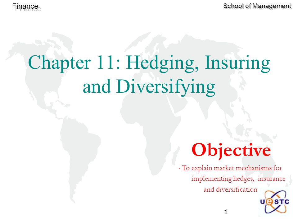 1 Finance School of Management Chapter 11: Hedging, Insuring and Diversifying Objective To explain market mechanisms for implementing hedges, insurance and diversification