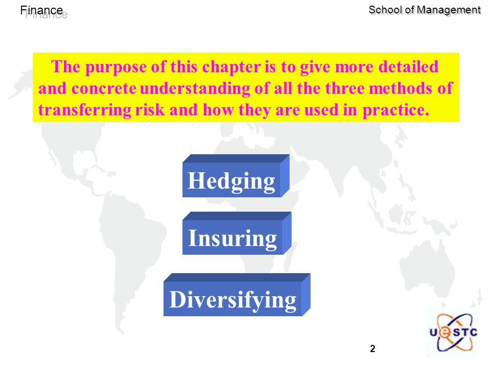 2 Finance School of Management The purpose of this chapter is to give more detailed and concrete understanding of all the three methods of transferring risk and how they are used in practice.