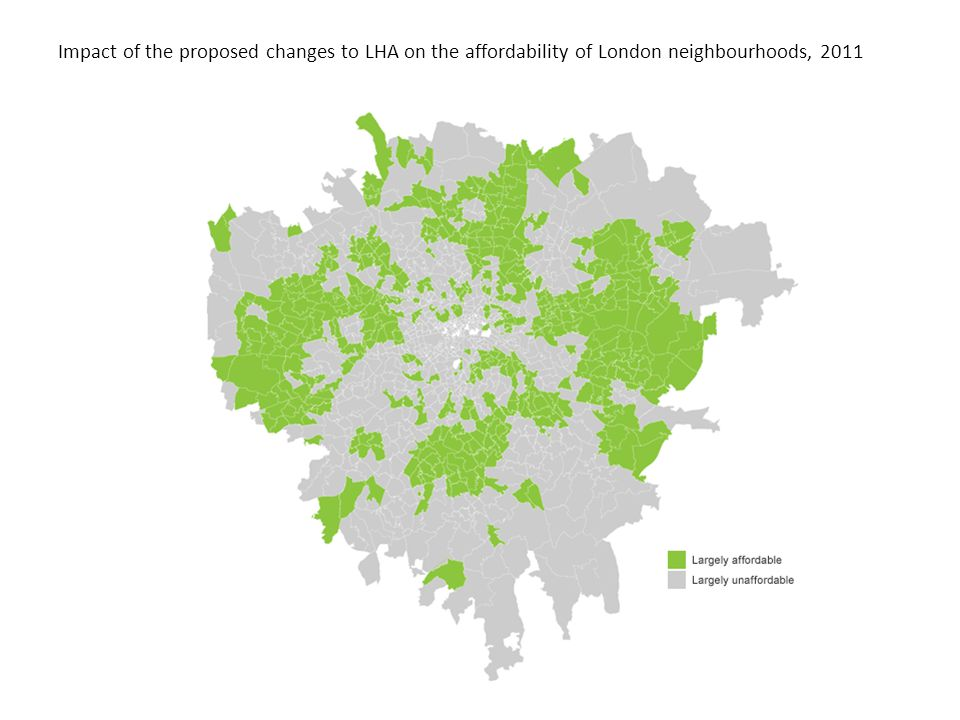 Impact of the proposed changes to LHA on the affordability of London neighbourhoods, 2011