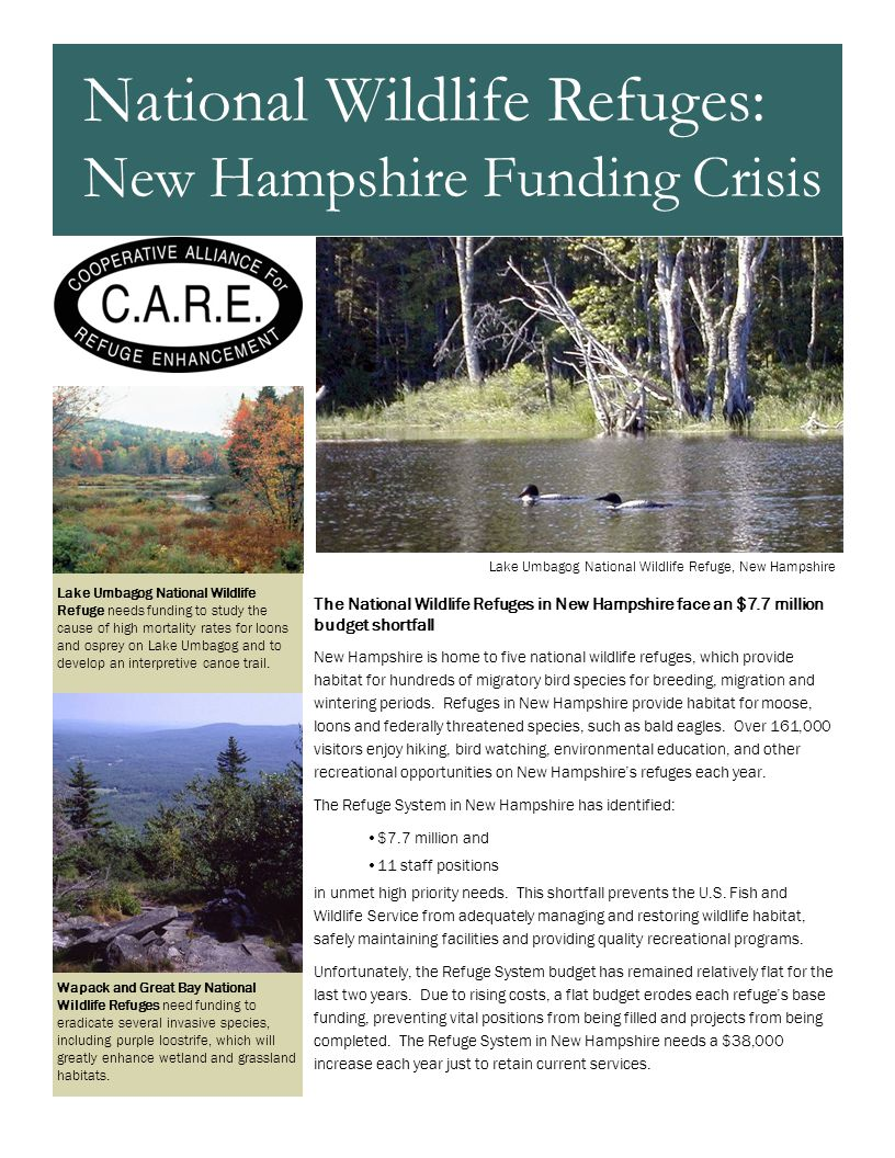 The National Wildlife Refuges in New Hampshire face an $7.7 million budget shortfall New Hampshire is home to five national wildlife refuges, which pr