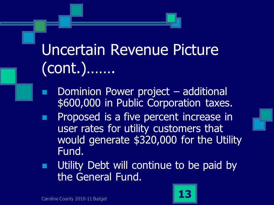 Caroline County 2010-11 Budget 13 Uncertain Revenue Picture (cont.)…….