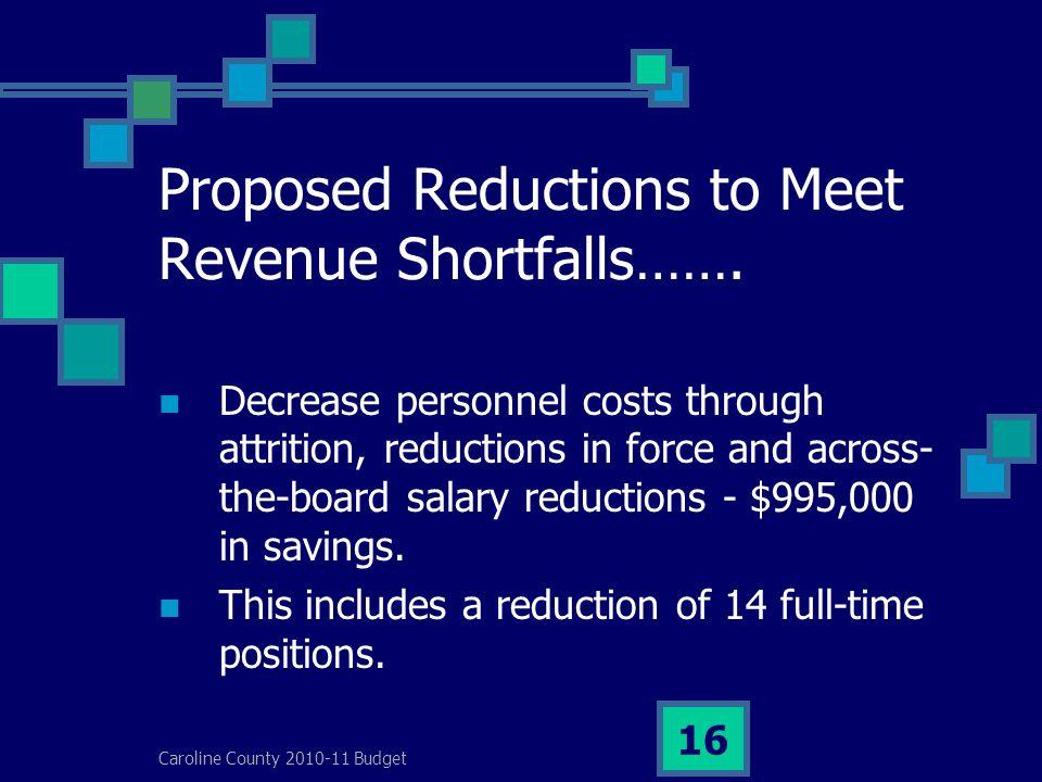 Caroline County 2010-11 Budget 16 Proposed Reductions to Meet Revenue Shortfalls…….