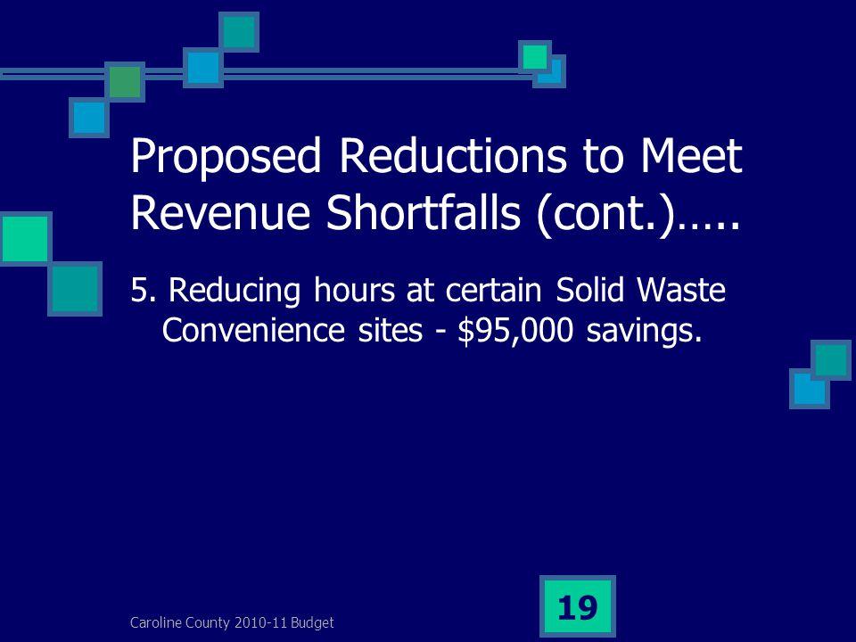 Caroline County 2010-11 Budget 19 Proposed Reductions to Meet Revenue Shortfalls (cont.)…..