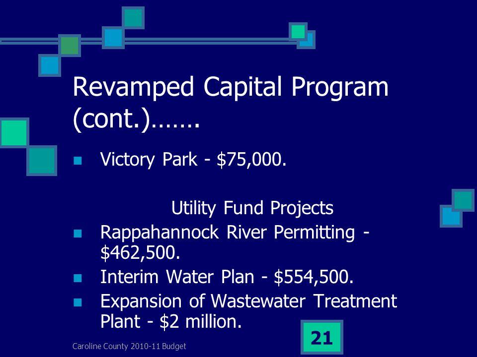 Caroline County 2010-11 Budget 21 Revamped Capital Program (cont.)…….