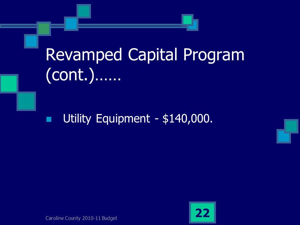 Caroline County 2010-11 Budget 22 Revamped Capital Program (cont.)…… Utility Equipment - $140,000.
