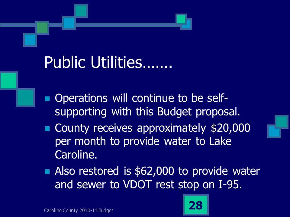 Caroline County 2010-11 Budget 28 Public Utilities…….